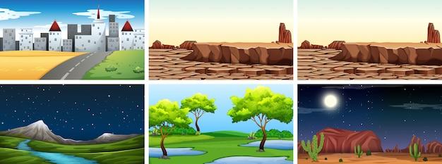 Ensemble de fond de paysage nature Vecteur gratuit