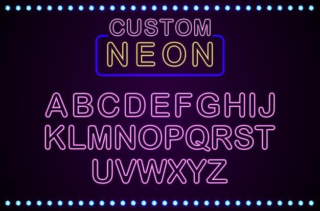 Ensemble de fond rétro néon personnalisé Vecteur Premium