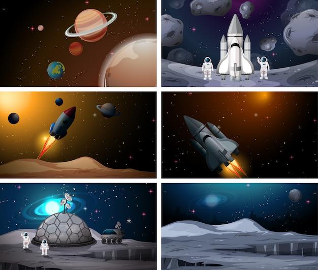 Ensemble de fond de scènes de l'espace extra-atmosphérique Vecteur gratuit
