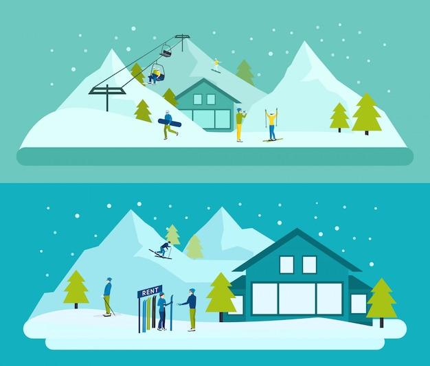 Ensemble de fond de station de ski Vecteur gratuit