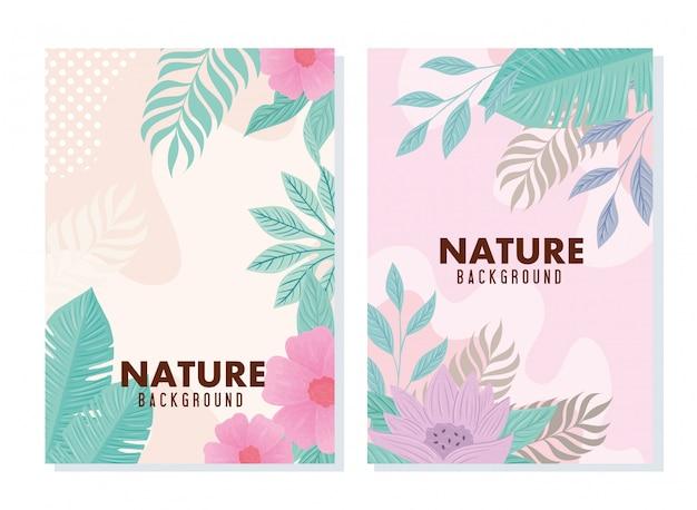 Ensemble De Fond Tropical Et Fleurs Avec Des Feuilles De Couleur Pastel Vecteur Premium