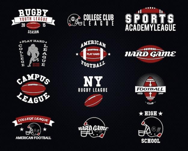 Ensemble De Football Américain, étiquettes D'université, Logos, Insignes, Insignes, Icônes De Style Vintage. Conception Graphique Vecteur Premium