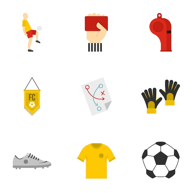 Ensemble de football, style plat Vecteur Premium