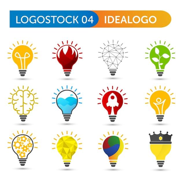 Ensemble de forme de logo ampoule Vecteur Premium