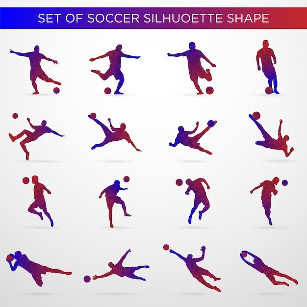 Ensemble de forme de silhouette de football Vecteur Premium