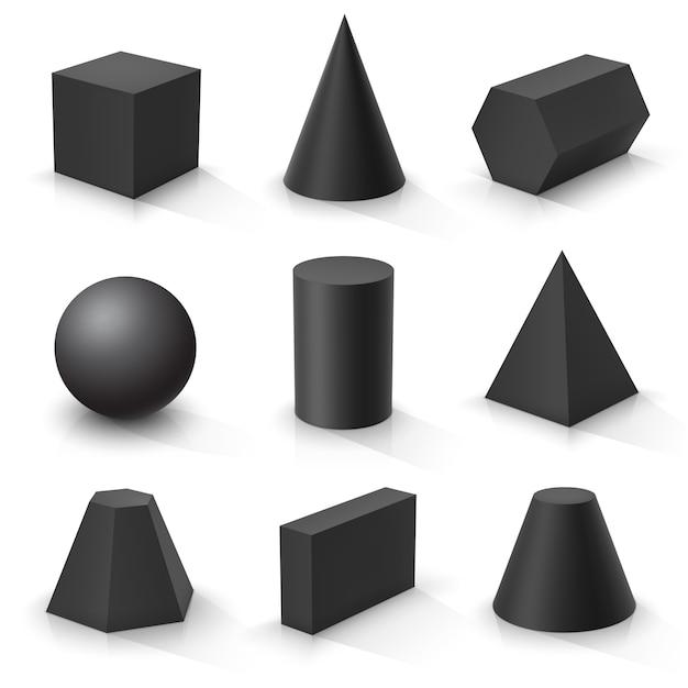 Ensemble De Formes 3d De Base. Solides Géométriques Noirs Vecteur Premium