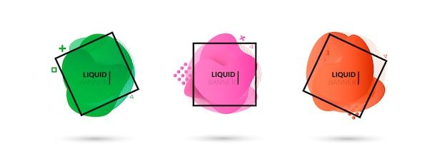 Ensemble de formes géométriques abstraites de couleur liquide Vecteur gratuit