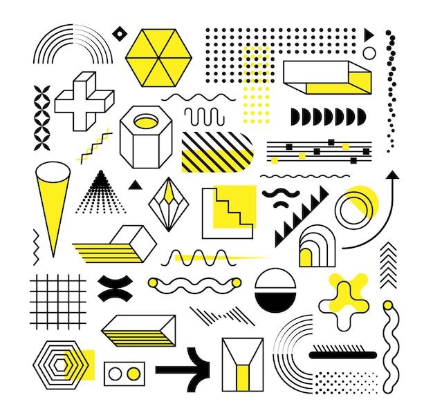 Ensemble De Formes Géométriques à La Mode Abstraites Et éléments De Conception Avec Des éléments Jaune Vif. Vecteur Premium