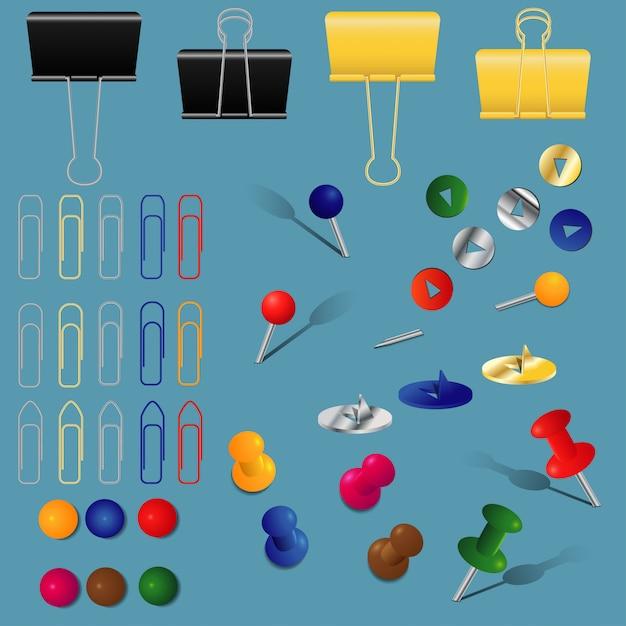 Un Ensemble De Fournitures De Bureau, Trombones, Classeurs Et épingles, Différentes Couleurs Et Formes, Vecteur Premium