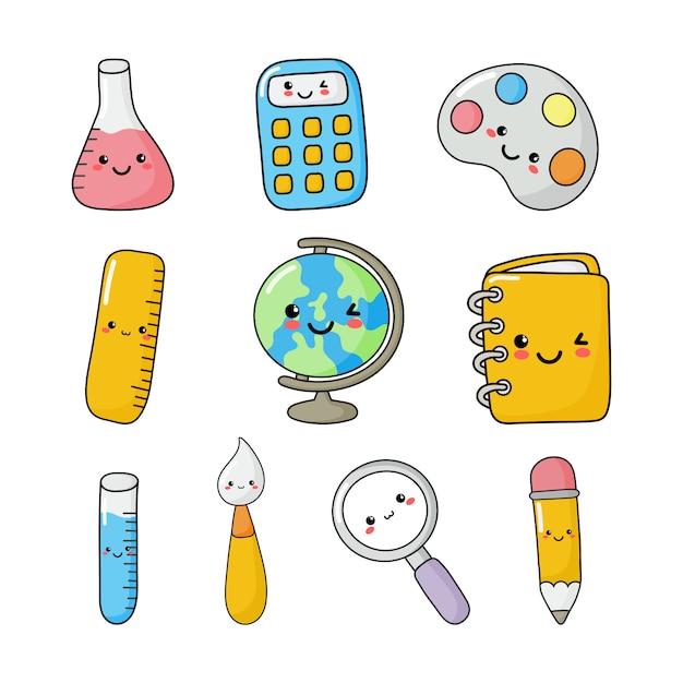 Ensemble de fournitures scolaires drôle et mignonne style kawaii. calculatrice, loupe, stylos, pinceau, règle, bloc-notes, globe et autres. articles d'éducation isolés Vecteur Premium