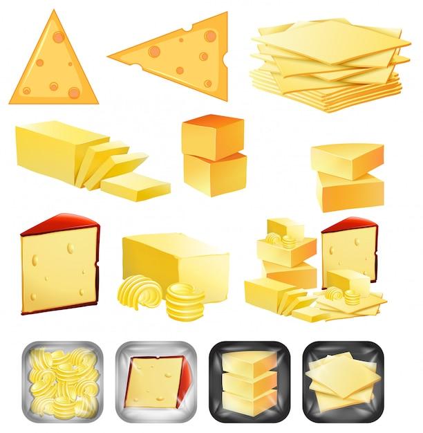 Un ensemble de fromage Vecteur gratuit