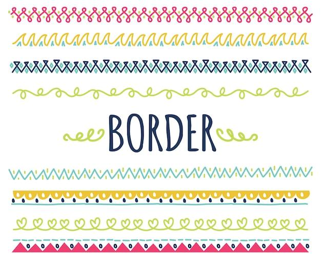 Ensemble de frontière dessiné main coloré Vecteur Premium