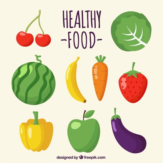 Ensemble de fruits et légumes délicieux Vecteur gratuit
