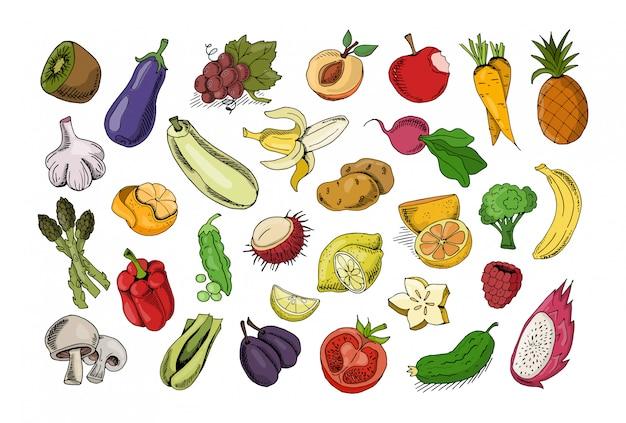 Ensemble de fruits et légumes isolés Vecteur Premium