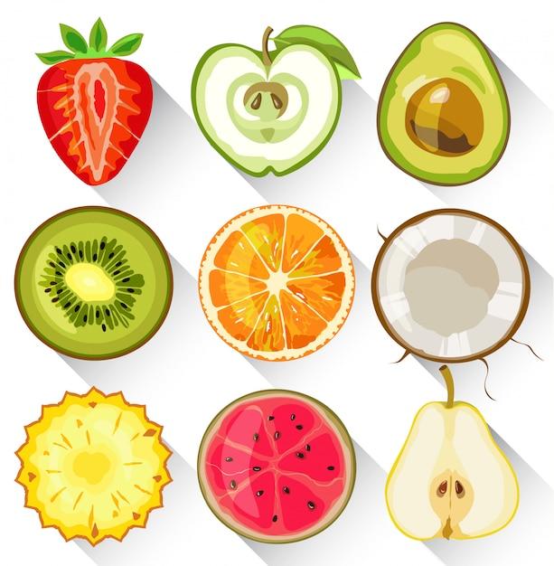 Ensemble De Fruits Et Légumes. Pomme, Kiwi, Orange, Fraise, Avocat, Poire, Ananas Et Goyave Vecteur Premium