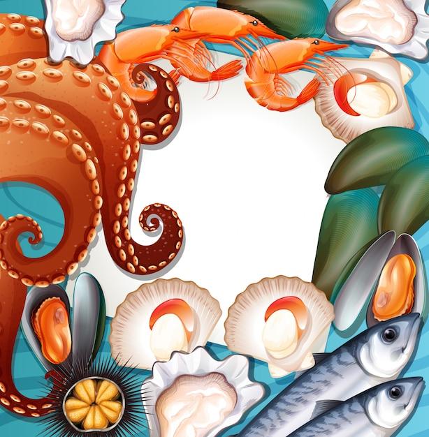 Ensemble de fruits de mer frais Vecteur gratuit