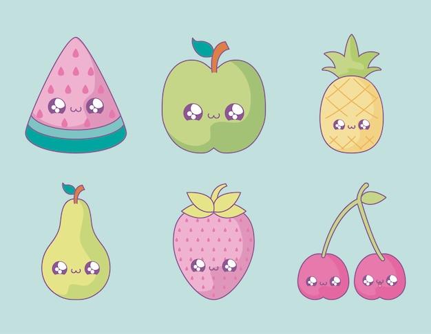 Ensemble De Fruits Mignons Style Kawaii Vecteur Premium