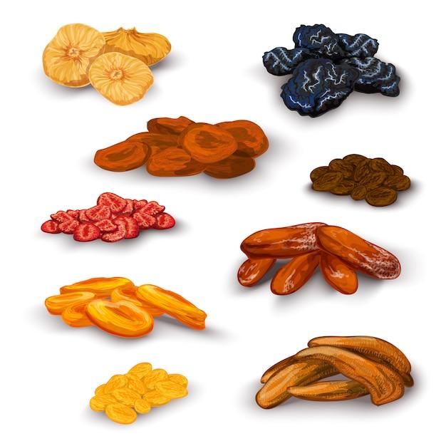 Ensemble de fruits secs Vecteur gratuit