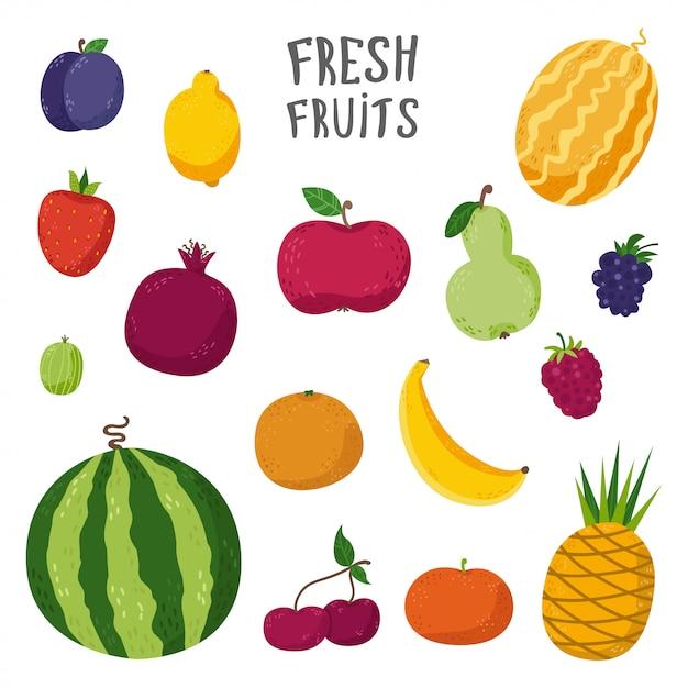 Ensemble de fruits en style cartoon Vecteur Premium