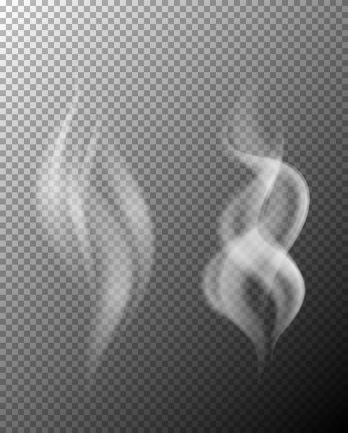 Un ensemble de fumée sur fond transparent Vecteur Premium