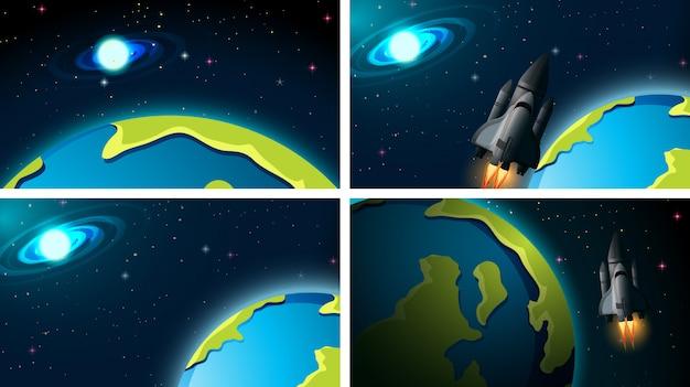 Ensemble de fusée et scène de l'espace ou des arrière-plans Vecteur gratuit