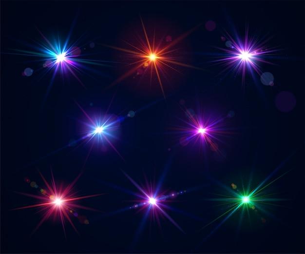 Ensemble de fusées éclairantes. effets de lumière de l'éblouissement flash Vecteur Premium