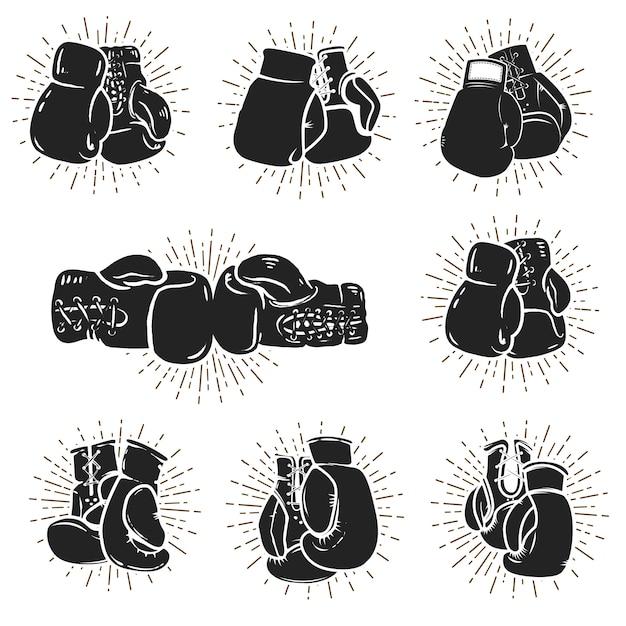 Ensemble De Gants De Boxe Sur Fond Blanc. élément Pour Logo, étiquette, Emblème, Signe, Affiche. Illustration Vecteur Premium