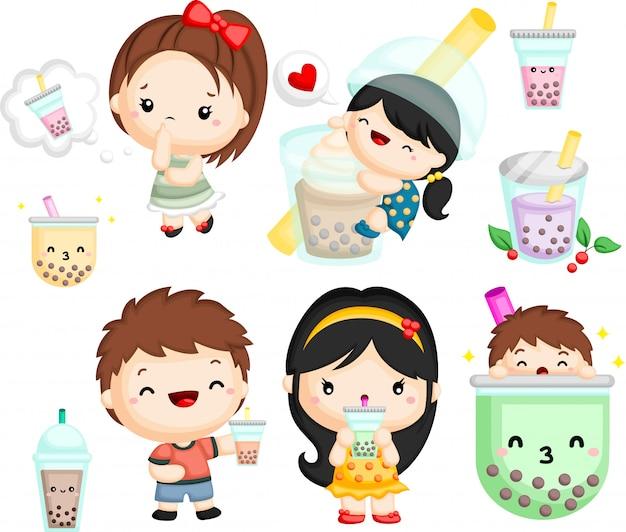 Ensemble d'un garçon et une fille avec du thé à bulles Vecteur Premium