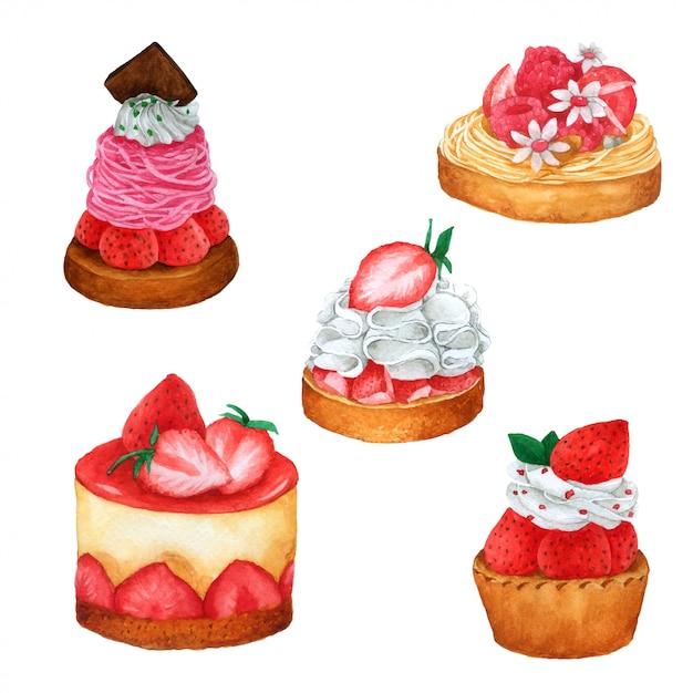 Ensemble de gâteau aux fraises et au chocolat à l'aquarelle Vecteur Premium