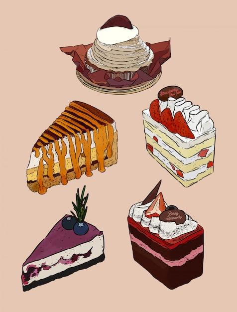 Ensemble de gâteau, mont blanc, banoffee, gâteau de couche de crème fraîche de paille, gâteau au fromage de myrtille et gâteau aux baies au chocolat. main dessiner un vecteur d'esquisse. Vecteur Premium