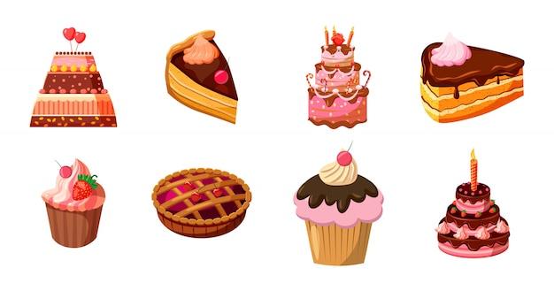 Ensemble de gâteaux. jeu de dessin animé de gâteau Vecteur Premium