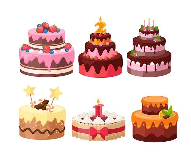 Ensemble De Gâteaux à Plusieurs Niveaux. Gâteaux D'anniversaire Et De Mariage Décorés De Bonbons, De Chocolat, De Baies Et De Fruits Vecteur Premium