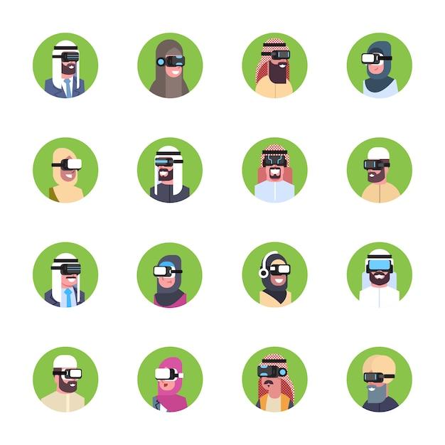 Ensemble De Gens D'affaires Arabes Portant Des Lunettes 3d Modernes Icônes Concept De Casque De Réalité Virtuelle Vecteur Premium