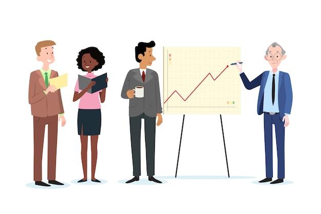 Ensemble De Gens D'affaires Au Travail Vecteur gratuit