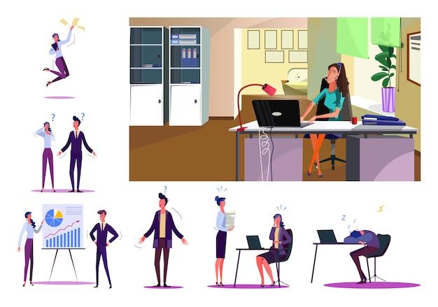 Ensemble De Gens D'affaires Pendant Le Travail Vecteur gratuit