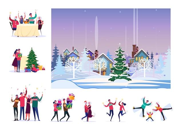 Ensemble De Gens Heureux Célébrant Noël Vecteur gratuit