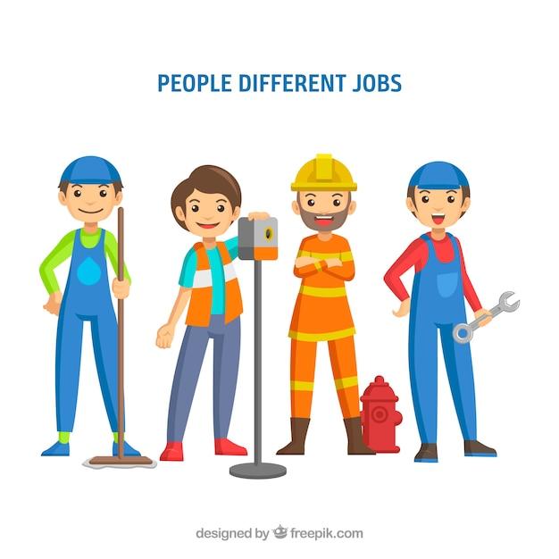 Ensemble de gens heureux avec différents emplois dans le style plat Vecteur gratuit