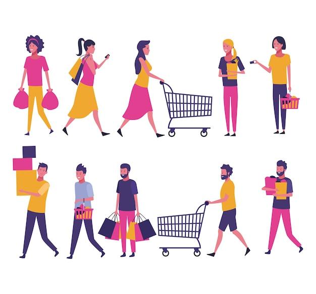 Ensemble de gens shopping Vecteur Premium