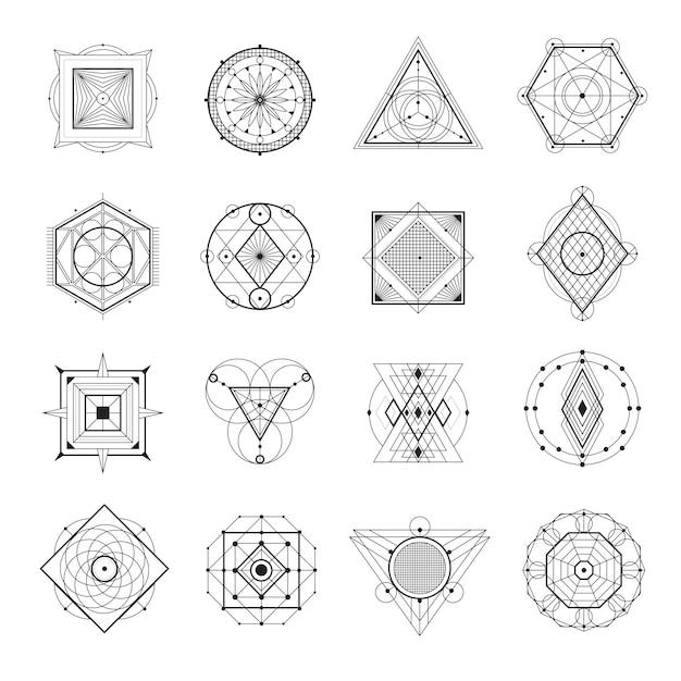 Ensemble de géométrie sacrée Vecteur gratuit