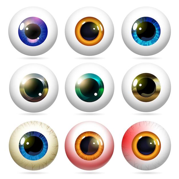 Ensemble de globes oculaires dans un style réaliste. Vecteur Premium