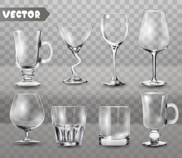 Ensemble de gobelets de verres transparents. Vecteur Premium