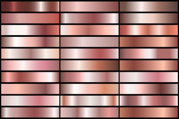 Ensemble de gradients d'or rose réalistes. collection de métal de vecteur pour frontière, cadre, conception de ruban. Vecteur Premium