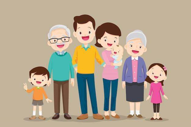 Ensemble De Grande Famille Heureuse Vecteur Premium