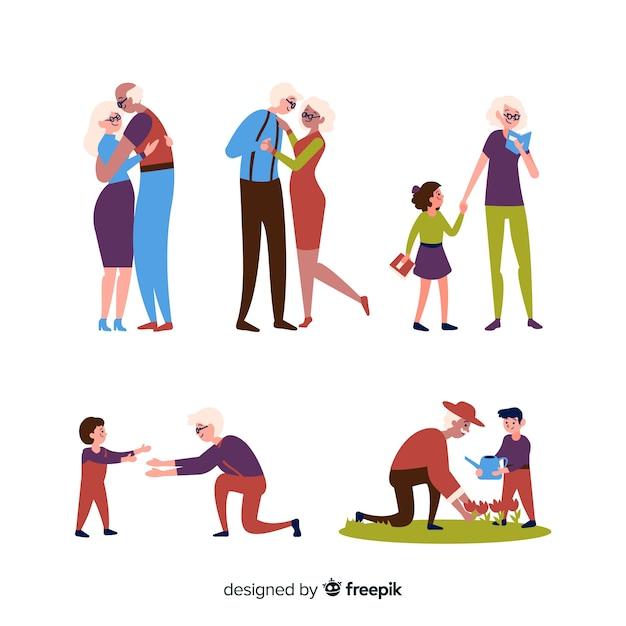 Ensemble de grands-parents faisant des choses Vecteur gratuit