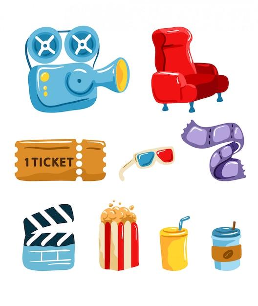 Ensemble graphique d'outils de cinéma Vecteur Premium