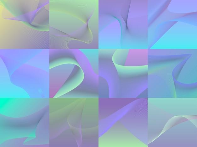 Ensemble de graphiques colorés de vagues 3d dynamiques Vecteur gratuit