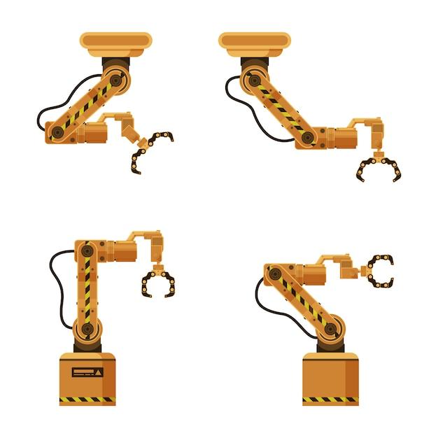 Ensemble de griffe d'emballage robotique mécanique en métal brun Vecteur Premium