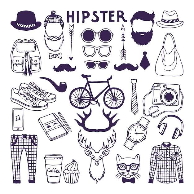 Ensemble de griffonnage de style dessiné à la main des éléments de hipster. set d'illustrations vectorielles Vecteur Premium