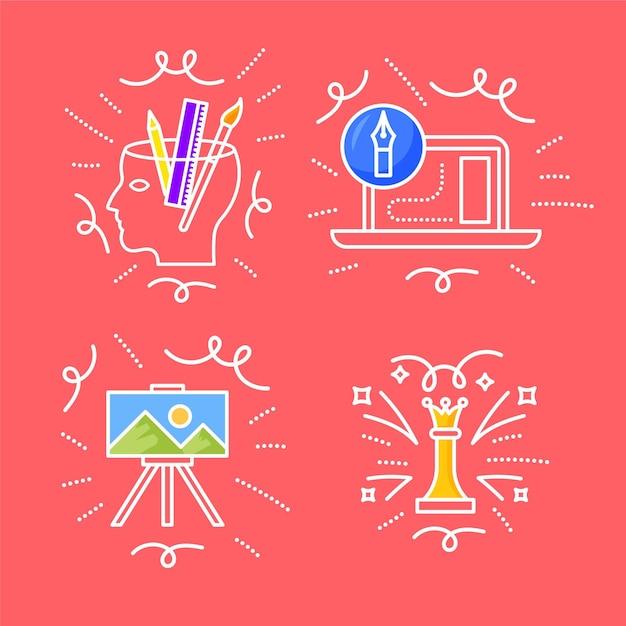 Ensemble De Griffonnages De Créativité Dessinés à La Main Vecteur gratuit
