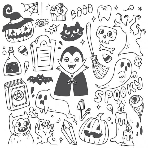 Ensemble de griffonnages d'halloween mignons Vecteur Premium